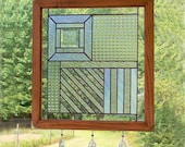 Stained Glass Panel - Textured Clear Composition Suncatcher