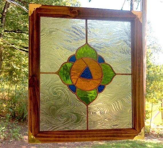Stained Glass Poppy Panel - Victorian Inspired Poppy Suncatcher