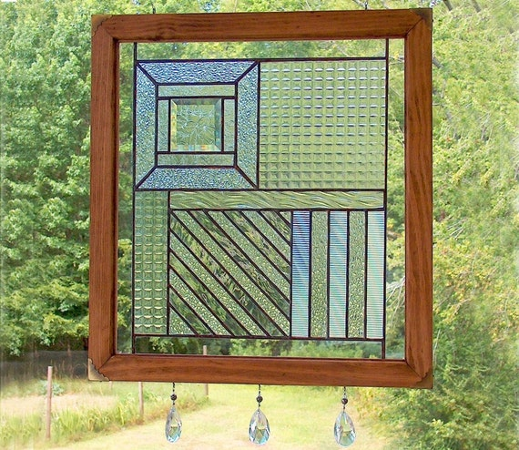 Stained glass panel textured clear composition suncatcher for Textured glass panels