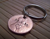 Personalized, Hand Stamped Save The Date Wedding Anniversary Penny Keychain