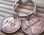 Lucky Penny, Personalized, Hand Stamped Lucky Two Penny Keychain