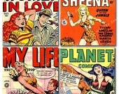 12 Colorful Images of Women on 1940's Comic Book Covers 2x2 inches each on Digital Collage Sheet