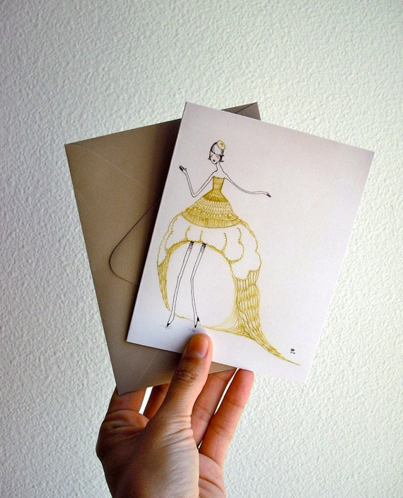 Gold Dress Girl Set of 5 A2 Notecards