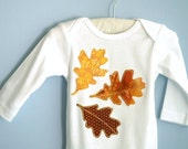 SAMPLE SALE Infant Autumn Leaves Bodysuit Romper One-Piece Oak