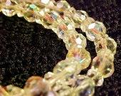 Vintage Crystal Bracelet, AB, Aurora Borealis, Double Strand, Mid Century, Retro, Beads, Glass, Austrian, Toggle Clasp, FREE US Shipping
