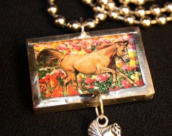 Horse Pendant Collage with Chain, Chestnut,Sorrel, Silver Solder, Pegasus,Equestrian, Horse Lover, Cowgirl, Hunter, Horses, FREE US Shipping