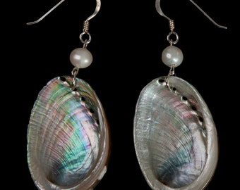 Abalone Shell and Pearl Earrings