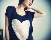 SAMPLE SALE All is Love Heart Top / Black and Cream / Silk and Lace