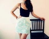 Lace Summer Mini Skirt / Aqua and Ivory / Mint Ganache Skirt