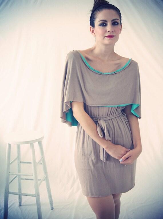 LAS ONE SALE - Sand and Aqua Rib Cotton Caped Carmella Dress