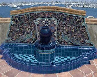 Malibu House Peacock Mural~ California Tiles