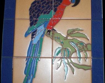 Decorative tile mural..Catalina Parrot