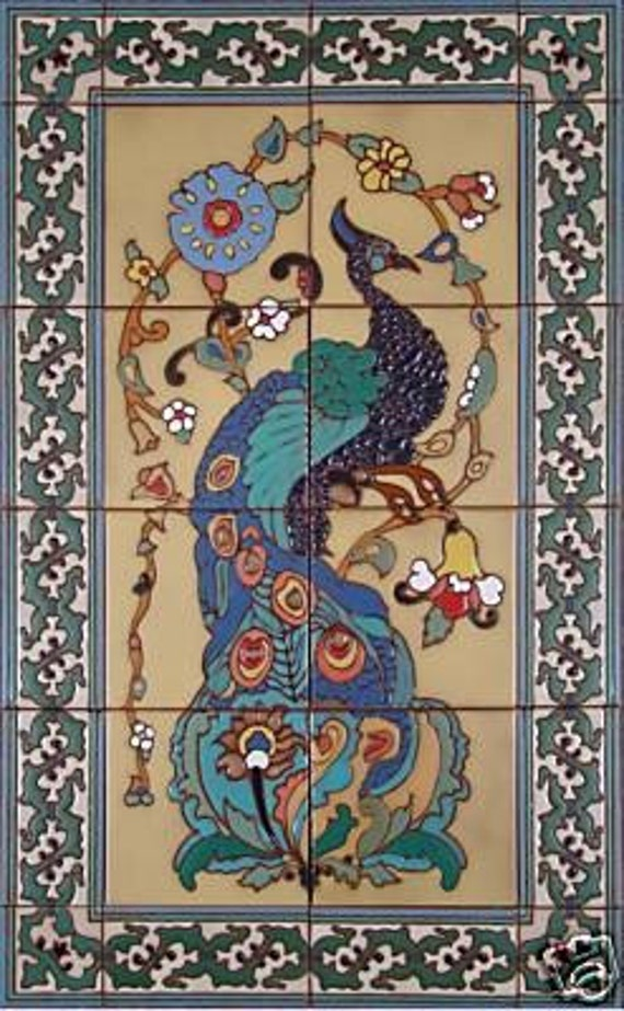 Decorative tile mural catalina peacock by ceramicconcepts for Art deco tile mural