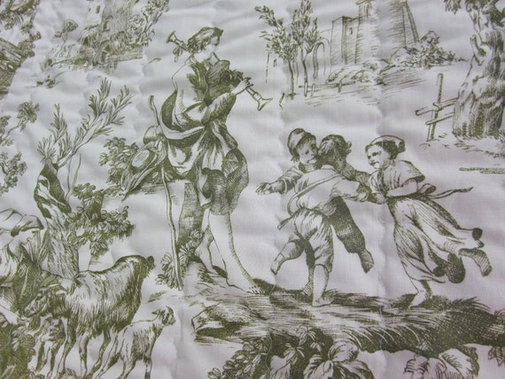 green toile vintage twin bedspread