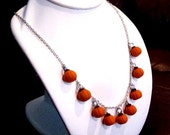 Pumpkin Charm Necklace - Polymer Clay Food - Fall, Autumn, Halloween Jewelry - Holiday Themed