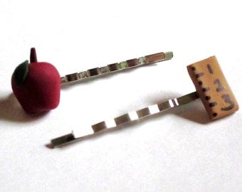Apple and Ruler Hairpins - Handmade - Back to School Jewelry and Accessories
