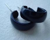 Vintage Earrings, Navy Blue, Metal Hoops, Small Hoop Earrings