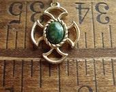 Vintage AVON Pendant, Gold, Green Cross