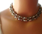 Vintage Silver Chain Choker Necklace, Vintage Necklace, Vintage Choker
