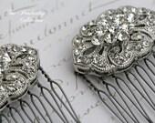 Bridal Hair Combs, Pair, Rhinestone Hair Comb