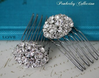 Rhinestone Hair Combs, Pair, Bridal Hair Combs