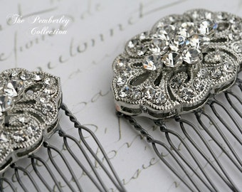 Bridal Hair Combs, Pair, Rhinestone Hair Comb