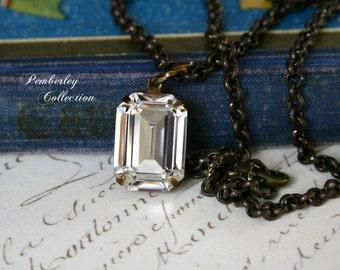Swarovski Crystal Pendant Necklace, Clear, Octagon, Estate Style Necklace, Emerald Cut