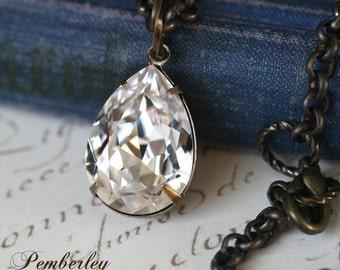 Swarovski Crystal Necklace, Tear Drop Necklace, Pear Shaped Necklace, Estate Style Necklace, Crystal Pendant Necklace