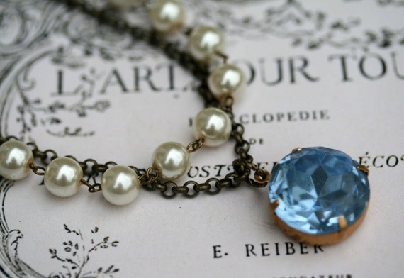 Necklace, Vintage Tanzanite, Swarovski Pearl, Estate Style