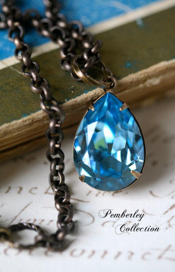 Swarovski Crystal Necklace, Aquamarine, Tear Drop, Estate Style Necklace