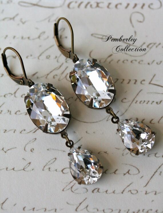Bridal Swarovski Crystal Earrings, Swarovski Crystal Earrings, Estate Style Earrings, Wedding Jewlery