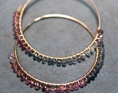 GINA Midnight in Paris Multi-Colored Sapphires 14 kt Gold Fill Large Hoops Limited Edition