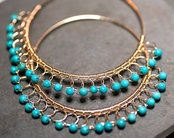 Turquoise DAAAAMN  GINA Gold Lace  Hoops 14 kt gold fill large Hoops