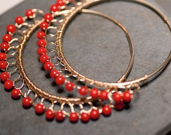 Red Hot DAAAMN GINA Coral Lace 14 kt Gold Fill Large Hoops