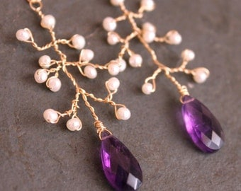 SALE Amethyst Pearl 14 kt Gold  Fill Twisted Branches Earrings
