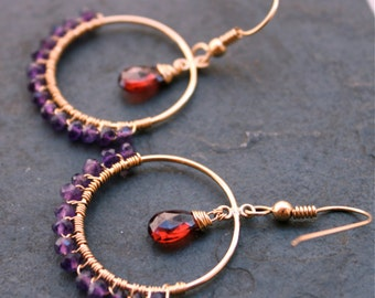 CATE  Moulin Rouge Garnet and Amethyst 14 Kt Gold Fill Hoops