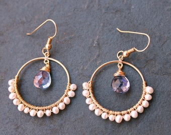 CATE Lovers At Sea. Iolite and Freshwater Pearl 14 kt Gold Fill Hoops
