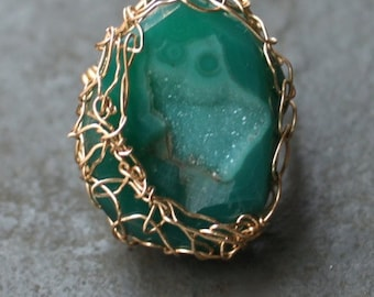 Emerald City Green Druzy Ring 14 kt Gold Fill Ring OOAK