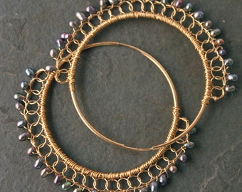 DAAAMN GINA Dark Gypsy 14 kt Gold Fill Large Raven Colored Freshwater Pearls with Gold Lace Detail