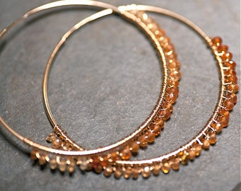 Gold Skies GINA Ombre Citrus Colored Sapphire on Large 14 kt Gold Fill Hoops. Limited Edition