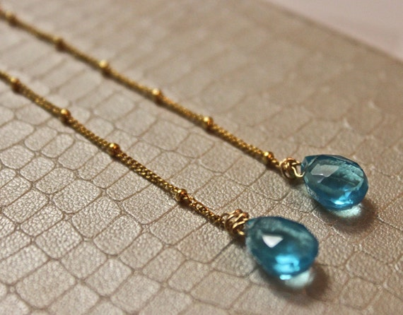 Cassieopia Forget Me Knot Blue Quartz Long Drop Earrings 14 kt Gold Beaded Chain