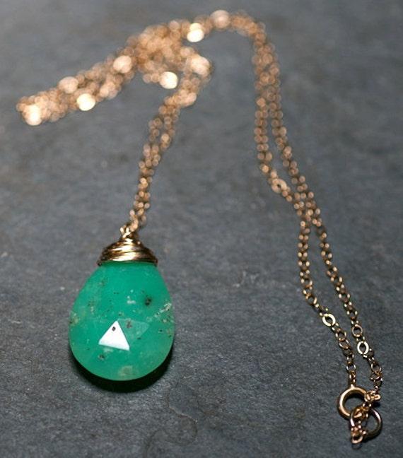 SALE Apple Of My Eye Chrysoprase 14 kt Gold Fill Necklace