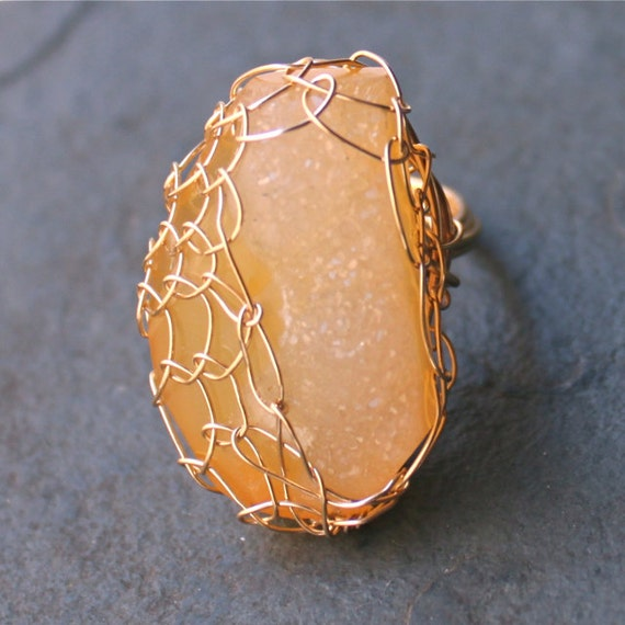 Marigold Sunrise Large Yellow Druzy 14 kt Gold Fill Ring OOAK