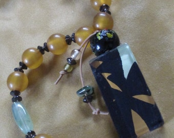 Tropical Twilight Underglass Pendant with Acrylic Beads