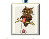 Knitting Owl Scrabble Tile Necklace or Keychain  (423)