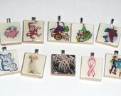 10 Scrabble Tile Pendants plus 1 free silver plated ball chain LOT 3 Going out of business sale