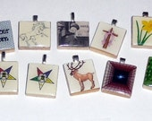 10 Scrabble Tile Pendants plus 1 FREE silver plated ball chain LOT 4 Going Out of Business Sale