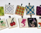 10 Scrabble Tile Pendants plus 1 FREE silver plated ball chain LOT 11 Going out of Business Sale
