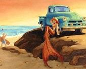 Finders Keepers , 1954 Chevy Pickup and Mermaid, Print