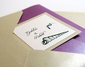 Pocket Beach Wedding Announcement with Reception Invitation Customize in Your Colors